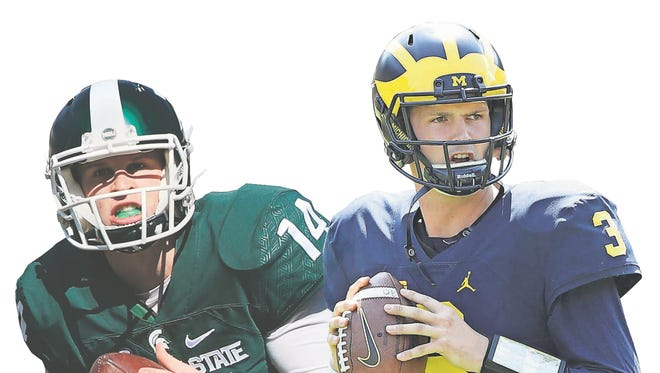Michigan State quarterback Brian Lewerke, left, and Michigan quarterback Wilton Speight.