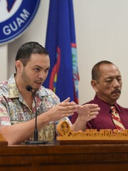 Sen. Michael San Nicolas speaks during a public hearing