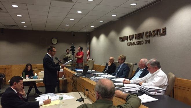 Sunshine Home attorney Mark Weingarten speaks to the New Castle Zoning Board of Appeals.