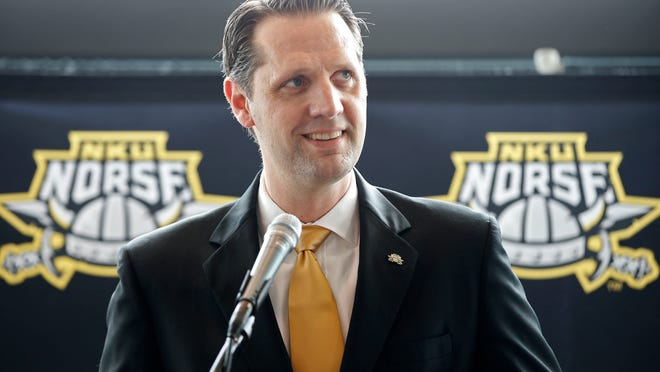 04072015 JOHN BRANNEN Tue., April 7, 2015 HIGHLAND HEIGHTS, KY, Northern Kentucky University introduced John Brannen as the new head basketball coach at a press conference, Tuesday, April 7, 2015, at the Bank of Kentucky Center in Highland Heights, Ky. Brannen comes to NKU following a six-year stint at Alabama, which included time as the associate head coach and, most recently, interim head coach. During his tenure as interim head coach, Brannen guided the Crimson Tide to a first-round victory in the 2015 NIT before falling to eventual runner-up Miami. The Enquirer/Kareem Elgazzar