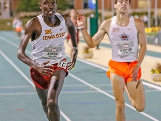 Iowa State's Edwin Kurgat shown in a contributed photo winning the 10,000-meter race at the Big 12 Conference Outdoor Championships.