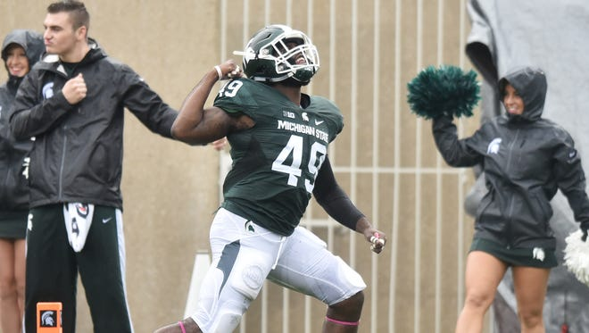 MSU's Shane Jones celebrates defensive stop on a kick return in the second quarter. His teammates will be celebrating a week off.