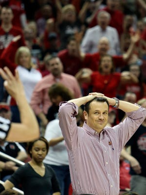 Louisville's Jeff Walz seems baffled by some of the officiating.  April 1, 2014
