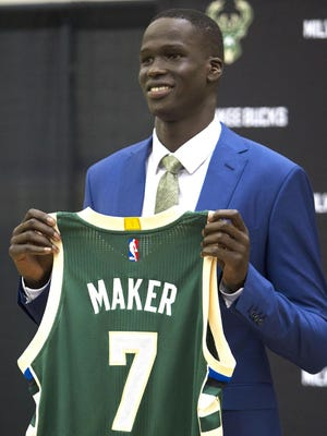 Bucks first-round pick Thon Maker was all smiles on draft day in June.