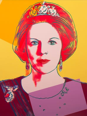 Reigning Queens (Queen Beatrix) by Andy Warhol, 1985. Screenprint on Lenox museum board, 39 3/8 x 31 1/2 in. One of the Andy Warhol prints on display in the lobby of the ASU Art Museum as part of the exhibit 'Warhol: New Gifts from the Andy Warhol Foundation for the Visual Arts.'