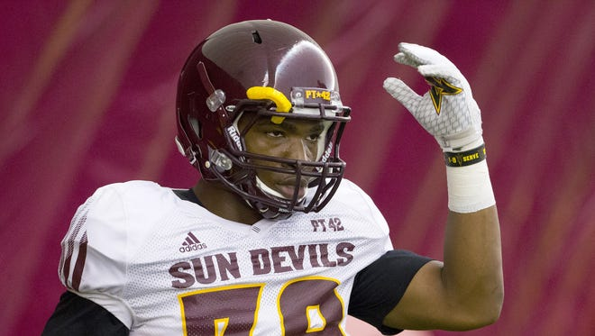 Arizona State Malik Lawal, linebacker, #39, works out during practice at Verde Dickey Dome in Tempe on August 6, 2016.