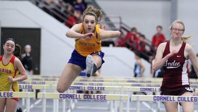 Benton's Elizabeth Masten runs the 60-meter hurdles for Benton at the WaMaC indoor meet Saturday, March 19, in Mount Vernon.