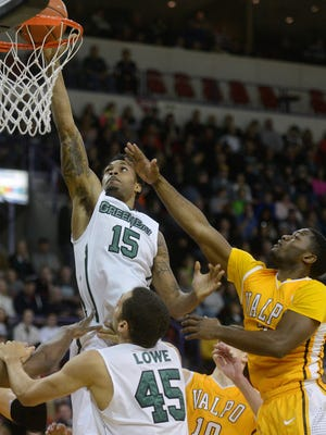 UW-Green Bay forward Greg Mays puts it in for two in the first half against Valparaiso at the Resch Center in Ashwaubenon on Friday, Jan. 23, 2015.