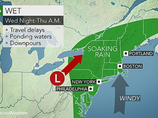 Rain is expected to fall throughout Wednesday in the Lower Hudson Valley.