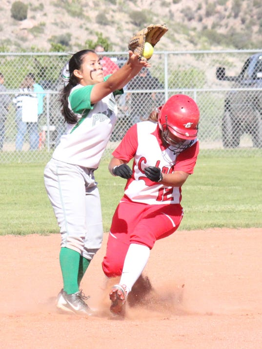 Cobre's Alyssa Ramos gets into second base during action against Pojoaque on Friday at Tom Powers Field in Bayard.