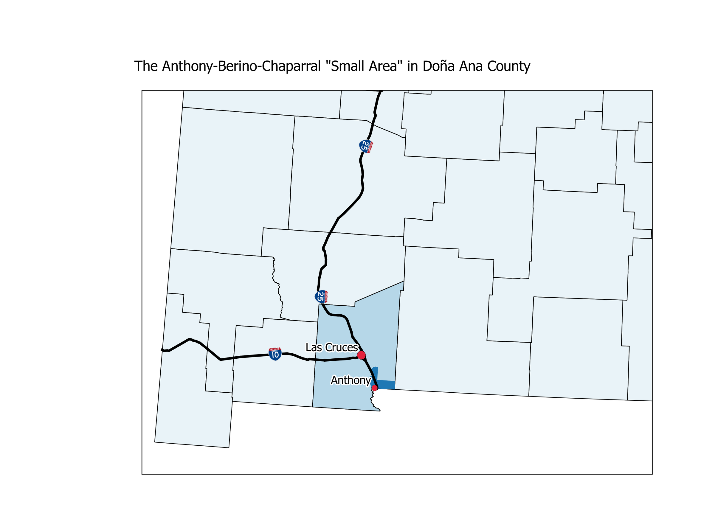 "Anthony-Berino-Chaparral ""Small Area"" in Doña Ana County."