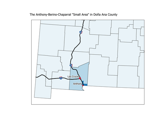 """Anthony-Berino-Chaparral """"Small Area"""" in Doña Ana County."""