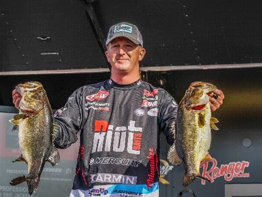 Bryan Schmitt, of Deale, Md., leads the FLW Tour presented