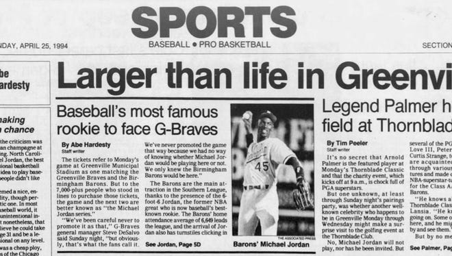 The sports front of The Greenville News on April 25, 1994.