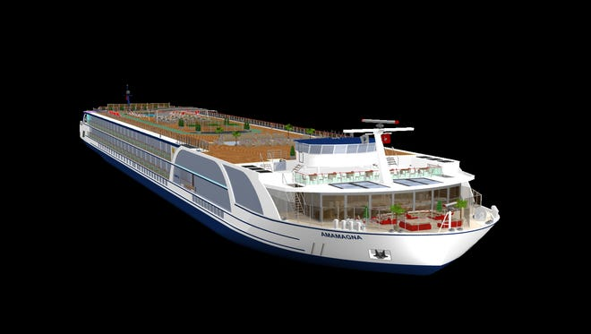 The only glimpse released so far by Ama Waterways of its just announced mega boat, the AmaMagna. The revolutionary double-wide European riverboat will debut in 2019.