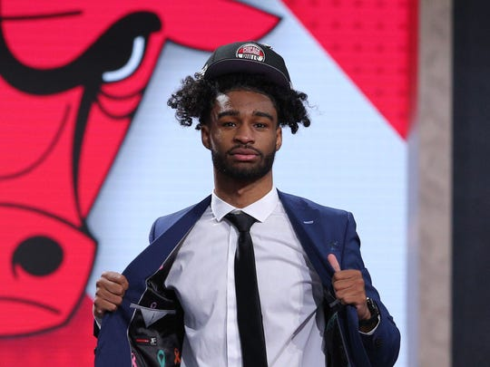 Coby White after being drafted No. 7 overall to the Bulls.