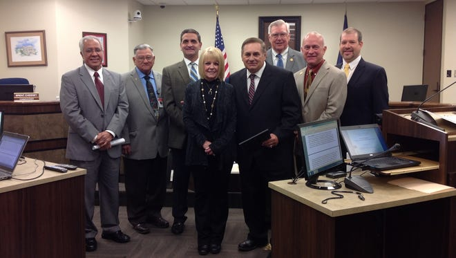 Calallen football coach and athletic director Phil Danaher was recognized by the Nueces County Commissioners Court along with Superintendent Arturo Almendarez and Danaher's wife, Assistant Superintendent, Anita Danaher.