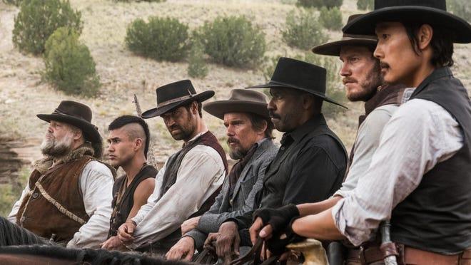 "Vincent D'Onofrio, Martin Sensmeier, Manuel Garcia-Rulfo, Ethan Hawke, Denzel Washington, Chris Pratt and Byung-hun Lee star in ""The Magnificent Seven."""