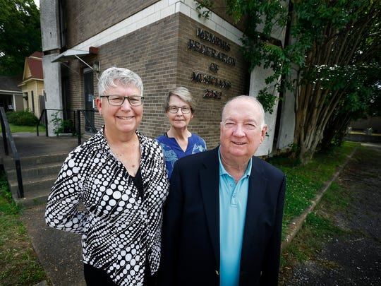 Memphis Federation of Musicians' (left to right) Laurie Pyatt, secretary treasure,  Karen Casey, member, and John Sprott, president, are celebrating the announcement that their building in Cooper Young has been placed on the National Register of Historic Places. The union was home to several iconic Memphis musicians, including Elvis Presley, Isaac Hayes and Otis Redding.