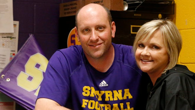 Smyrna head football coach Matt Williams' wife Shannon talk about her cancer treatment in his office on Wednesday April 25, 2018. Shannon Williams died Wednesday, Nov. 28, 2018.