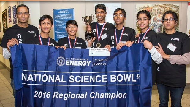 The eighth-grade team from the William Annin Middle School in Basking Ridge that is moving on to the next round of the National Science Bowl.