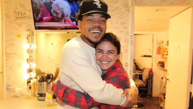 """Chance the Rapper, left, and Appleton native Colleen Mares hug backstage during """"Windy City Live"""" in 2015."""