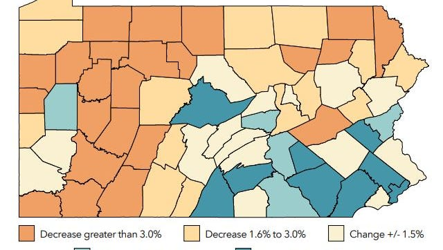 Pennsylvania's population growth for 2010-17 has been concentrated in the southeast and southcentral. Centre County is the main exception.