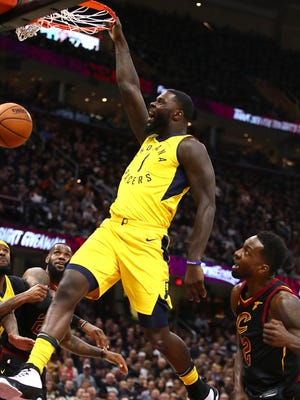 CLEVELAND, OH - APRIL 15:  Lance Stephenson #1 of the Indiana Pacers dunks next to Jeff Green #32 of the Cleveland Cavaliers during the first half in Game One of the Eastern Conference Quarterfinals during the 2018 NBA Playoffs at Quicken Loans Arena on April 15, 2018 in Cleveland, Ohio. Indiana won the game 98-80 to take a 1-0 series lead. NOTE TO USER: User expressly acknowledges and agrees that, by downloading and or using this photograph, User is consenting to the terms and conditions of the Getty Images License Agreement. (Photo by Gregory Shamus/Getty Images)