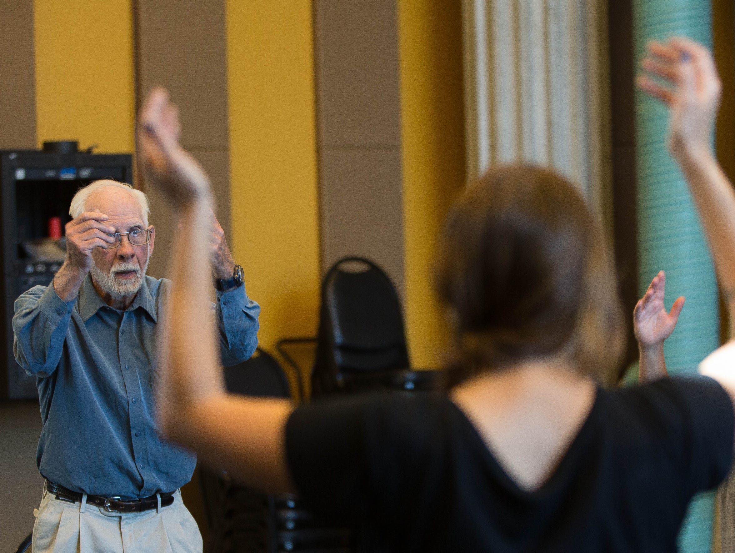 John Hamilton, who has Parkinson's disease, participates in an acting workshop on Friday, Nov. 10 at the New Mexico State University Performing Arts Center. Hamilton said he wants people to ask about the disease and to not be afraid to talk to people that are diagnosed with it, so more people can be educated.