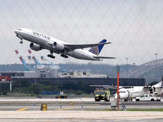 A United Airlines plane takes off from Newark Liberty