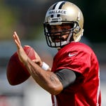 New Orleans Saints quarterback Seneca Wallace (10) during a morning training camp practice at the team facility.