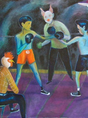"""Santiago Cohen's """"The Fight"""" is included in """"Fun House,"""" on view at Barrett Art Center in Poughkeepsie."""
