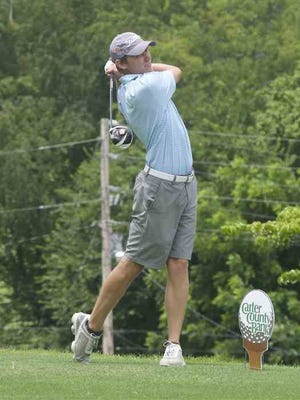 Tyler Lane tees off on No. 7 at Elizabethton Golf Course during Saturday's second round of the East Tennessee Amateur.