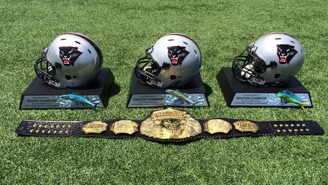 A look at the Florida Tech Football Offshore Fishing Tournament trophies.