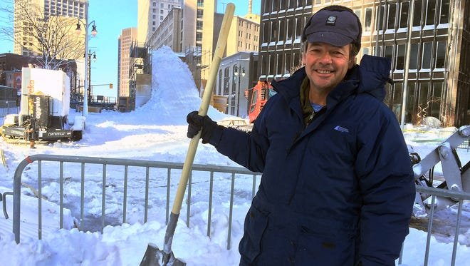 Andre Ducas, 53, of Montreal comes to Detroit each winter to create the Winter Blast snow slide in downtown Detroit.