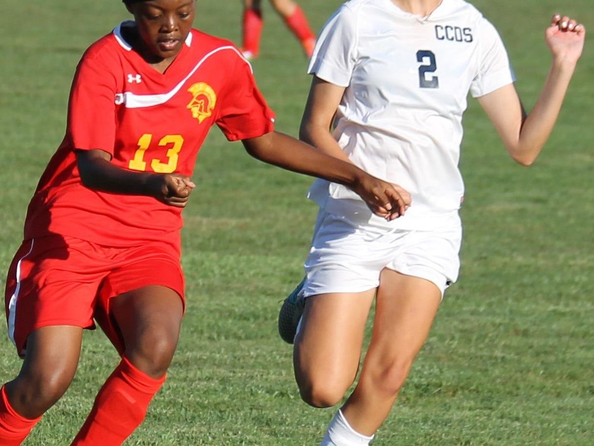 Cincinnati Country Day freshman forward Tori Keller runs down the ball against North College Hill.