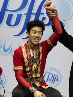Nathan Chen during the men's free skate in the U.S. Figure Skating Championship at Sprint Center on Sunday.