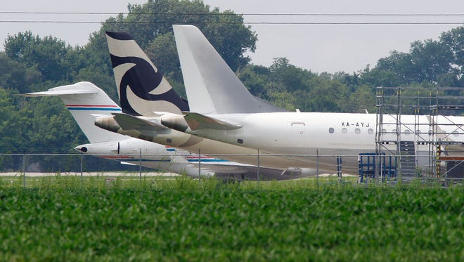 Jets are shown parked at St. Louis Downtown Airport in Sauget, Ill. on Aug. 5, 2015.