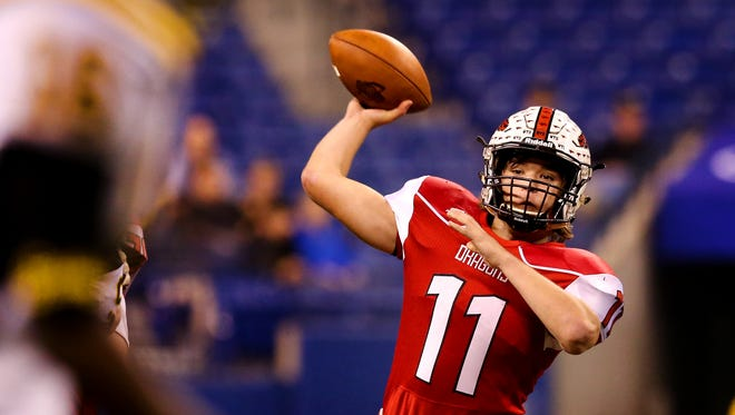 New Palestine's Alex Neligh (11) is expected to sign with UIndy on Wednesday.