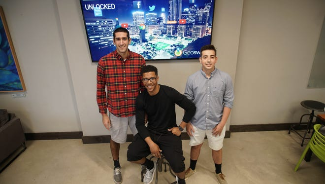 (From left) Jason Bamford, Jordan Gonzalez and Keith Doggett, all seniors at the University of Delaware, are the brains behind Geoswap, a mobile app that keeps users in the loop about events, deals and gatherings near their current geographic location.