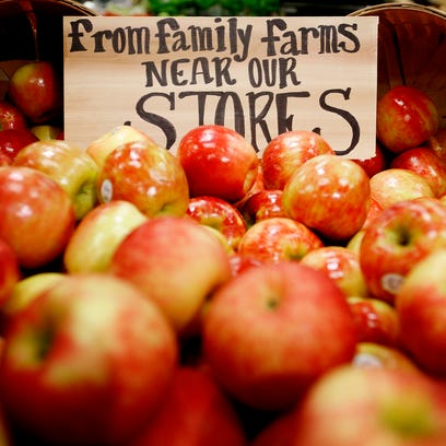 Local and state-grown Honey Crisp apples abound at