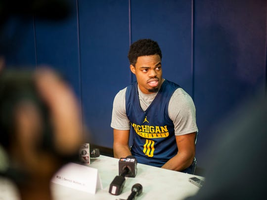 Derrick Walton Jr. answers questions during Michigan Wolverines men's basketball media day in Ann Arbor on Oct. 3, 2016.