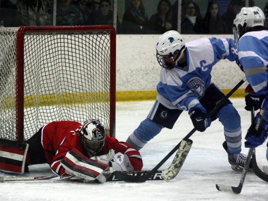 Churchill goalie Andrew Broyles makes one of his 40