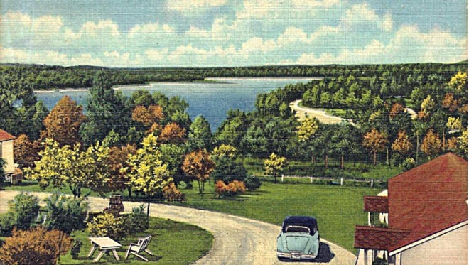A postcard shows the view of Bull Shoals Lake from Lakeshore Courts, which was owned by Hazel and Monty Montgomery.
