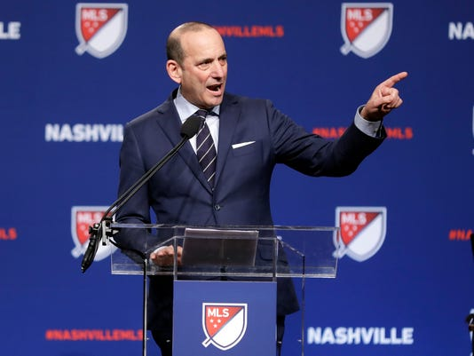 Major League Soccer commissioner Don Garber announces that Nashville, Tenn. has been awarded a Major League Soccer franchise Wednesday, Dec. 20, 2017, in Nashville. (AP Photo/Mark Humphrey)