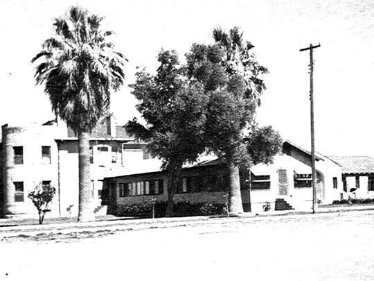An expansion of Mesa Southside Hospital in 1933 added a gable-roofed, low-profile building to the original hospital in the LeSueur house. Its tower is seen at left.