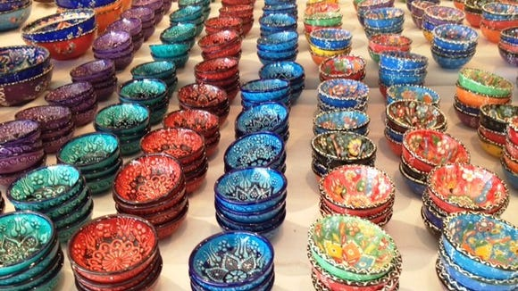 Bowls in a rainbow of colors are available in the marketplace.
