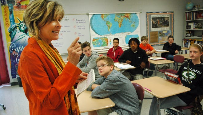 State Rep. Terri Lynn Weaver, R- Lancaster, speaks to a history class at Rucker-Stewart Middle School in Gallatin on Oct. 30, 2015.