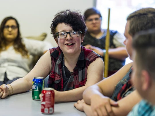 Arthur Westcott,16, shares a story about coming out to his family as a transgender male during a Transgender Support Group meeting at the Tri-State Alliance in Evansville, Ind., on Sunday, June 18, 2017. The support group, which meets every Sunday, held an open meeting that focused on helping educate family members and friends about being transgender.