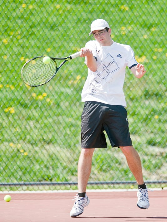 Michael Hogg of York Suburban will play Biglerville's Cole Herzing for the YAIAA Class AA tennis title at 4 p.m. today at South Western. (For The Evening Sun -- Jeff Lautenberger)